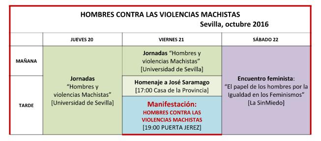 Tabla con el programa de los eventos machismo es violencia en sevilla